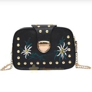 Black Faux Leather Embroidered Purse